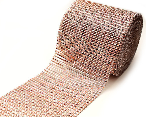 "4.5"" x 10 yards 24 Rose Gold Diamond Mesh Wrap"