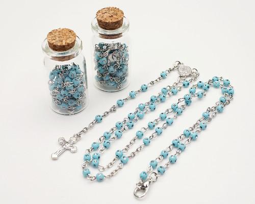 """1.75"""" Plain Blue Cork Glass Bottle Rosary Favors - Pack of 12 Baptism Favors"""