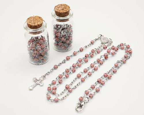 "1.75"" Plain Pink Cork Glass Bottle Rosary Favors - Pack of 12 Baptism Favors"