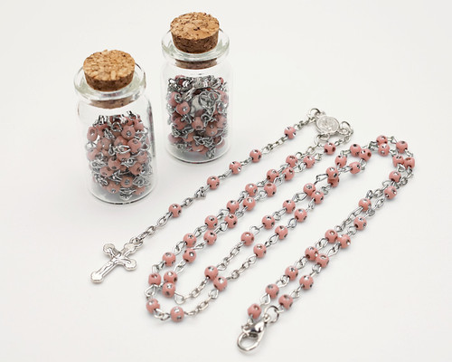 "1.75"" Plain Pink Cork Glass Bottle Rosary Favors - Pack of 12 Baptism Favors"