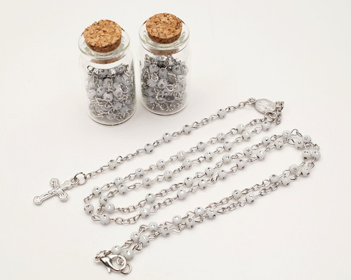 "1.75"" Plain White Cork Glass Bottle Rosary Favors - Pack of 12 Baptism Favors"