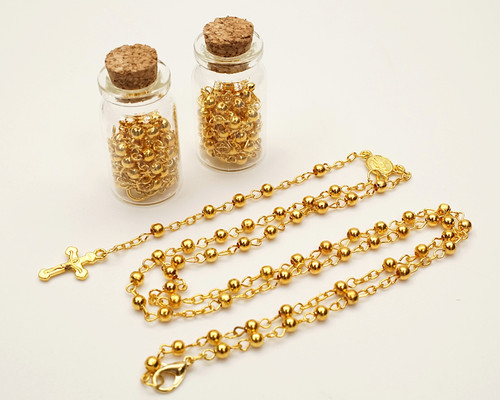 "1.75"" Plain Gold Cork Glass Bottle Rosary Favors - Pack of 12 Baptism Favors"
