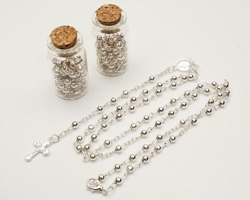 "1.75"" Plain Silver Cork Glass Bottle Rosary Favors - Pack of 12 Baptism Favors"