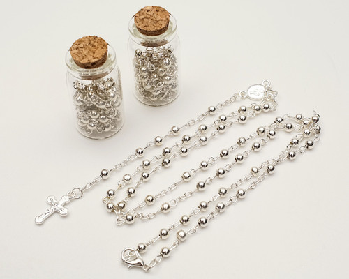 "1.75"" Plain Silver Cork Glass Bottle Rosary Favors - Pack of 12 Baptism Favors"