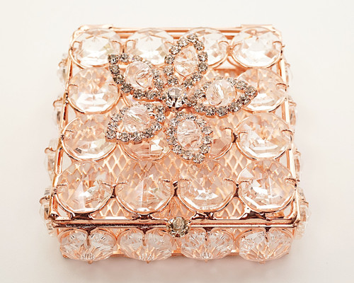 "2.75"" x 2.75"" Rose Gold Square Wedding Arras with Rhinestone Flower"