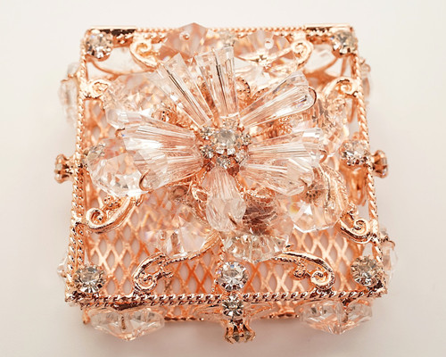 "2.75"" x 2.75"" Rose Gold Square Wedding Arras with Glass Bead Rhinestone Flower"