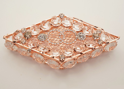 "4.75"" x 2.25"" Rose Gold Diamond Shape Wedding Arras with Glass Bead Rhinestone Accents"