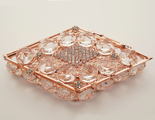 "4.75"" x 2.25"" Rose Gold Diamond Shape Wedding Arras with Rhinestone Accents"