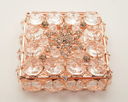 """2.75"""" x 2.75"""" Rose Gold Square Wedding Arras with Rhinestone Accents"""
