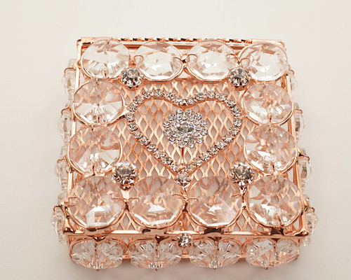 "2.75"" x 2.75"" Rose Gold Square Wedding Arras with Rhinestone Heart"