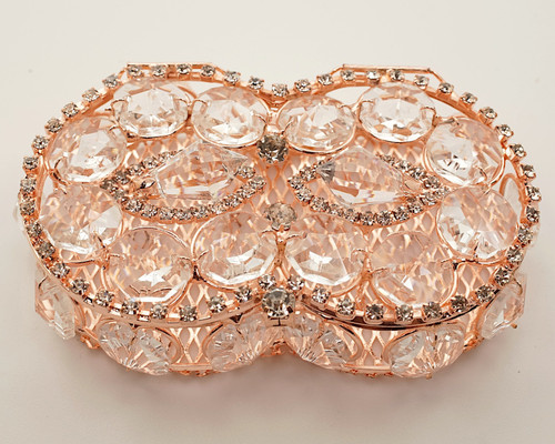 """3.75"""" x 2.5"""" Rose Gold Infinity Shape Wedding Arras with Rhinestone Accents"""