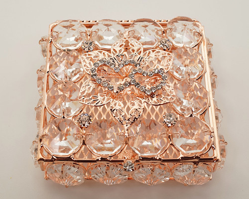 "2.75"" x 2.75"" Rose Gold Square Wedding Arras with Two Hearts Design"