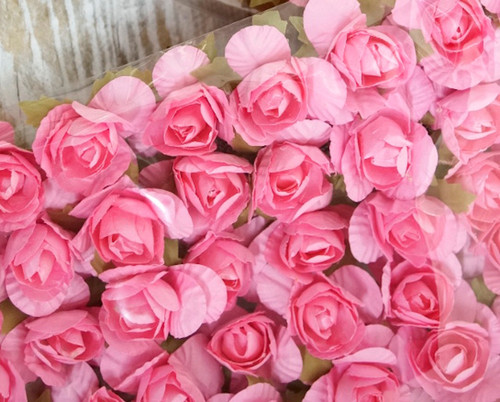 "1.25"" Pink Big Rose Paper Craft Flowers - Pack of 72"