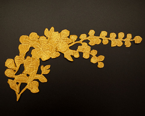 "10"" x 5.5"" Gold Iron-On Embroidered Floral Patch Applique - Pack of 12"