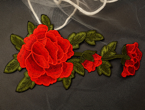 """7.75"""" x 4.5"""" Red Iron-On Embroidered Rose Patch Applique - Pack of 12"""
