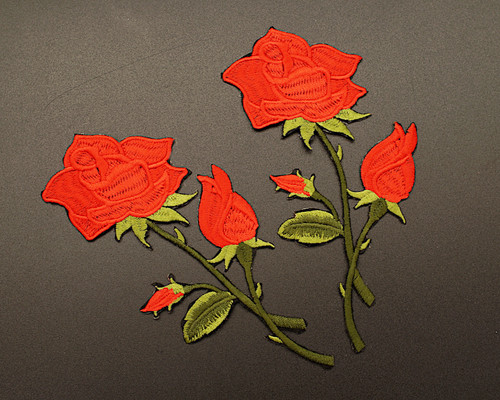 """6.5"""" x 3"""" Red Iron-On Embroidered Single Rose Patch Applique - Pack of 12"""