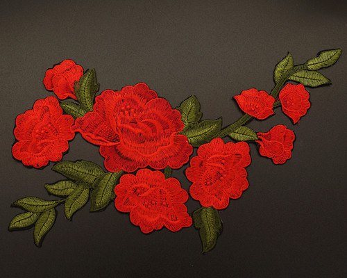 """12.5"""" x 8"""" Red Iron-On Embroidered Large Rose Patch Applique - Pack of 12"""
