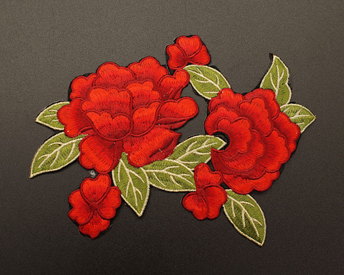"""7.25"""" x 6"""" Red Iron-On Embroidered Rose Patch Applique - Pack of 12"""