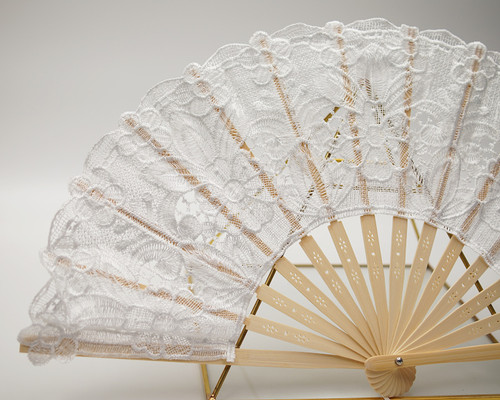 "9"" x 17"" White Floral Lace Wedding Fan Favors - Pack of 10"