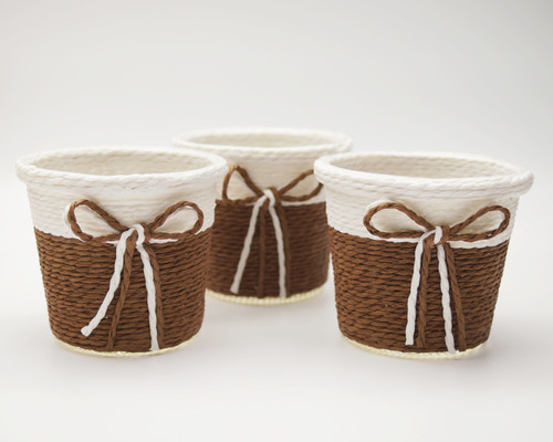 "3"" Dark Brown Round Starched Burlap Candy Favor Box - Pack of 10"