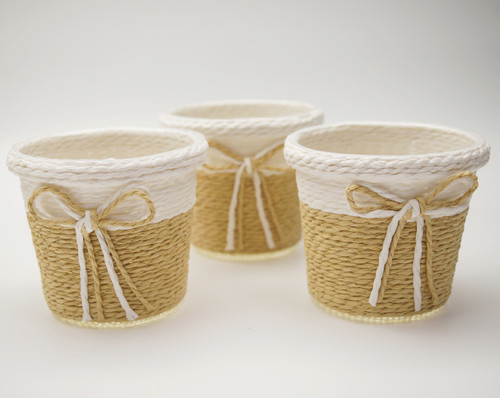 "3"" Khaki Round Starched Burlap Candy Favor Box - Pack of 10"