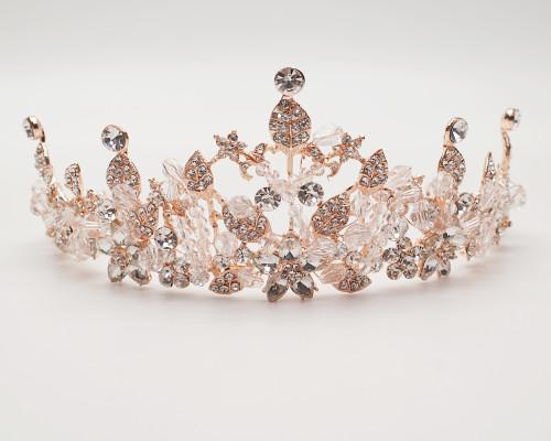 Rose Gold Crystal Rhinestone Crown Tiara (TV033)
