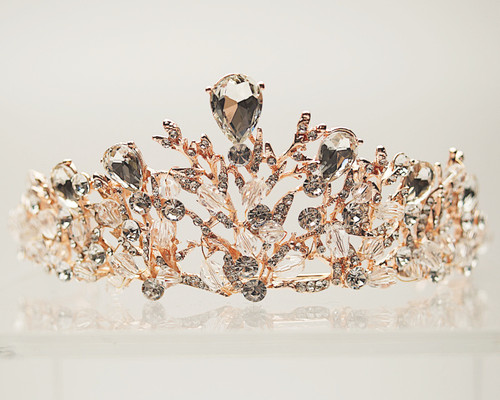 Rose Gold Crystal Rhinestone Crown Tiara (TV030)