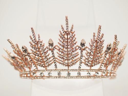 Rose Gold Crystal Rhinestone Tiara  (TU059)
