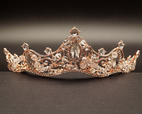 Rose Gold Crystal Rhinestone Tiara  (TR066)