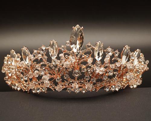 Rose Gold Crystal Rhinestone Tiara  (TX017)