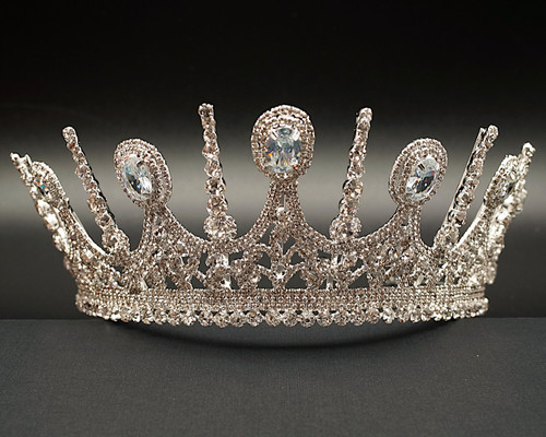 Silver  Royal Crystal Rhinestone Crown  (TKA007)