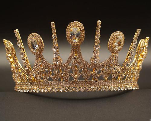 Gold Royal Crystal Rhinestone Crown  (TKA007)