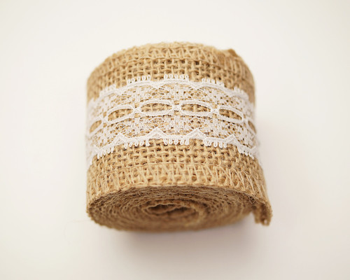 "2"" x 2 Yards Natural Jute Rustic Mesh Burlap Lace Ribbon - Pack of 12 Rolls"