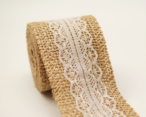 "2"" x 2 Yards Natural Jute Rustic Mesh Burlap Ribbon with Lace - Pack of 12 Rolls"