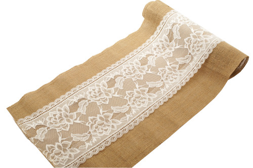"12"" x 2 Yards Natural Jute Rustic Mesh Burlap Lace Table Runner - Pack of 6 Rolls"