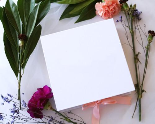 "7.5"" x 7.5"" White Rigid Proposal Box with Blush Ribbon - 1 Gift Box"