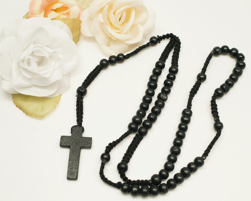 "20"" Black Wooden Pearl Rosary Favor - Pack of 12"