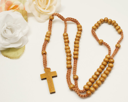 "20"" Brown Wooden Pearl Rosary Favor - Pack of 12"