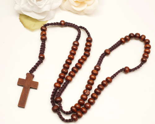 "20"" Dark Brown Wooden Pearl Rosary Favor - Pack of 12"