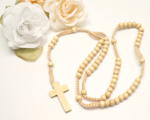 """20"""" Natural Wooden Pearl Rosary Favor - Pack of 12"""