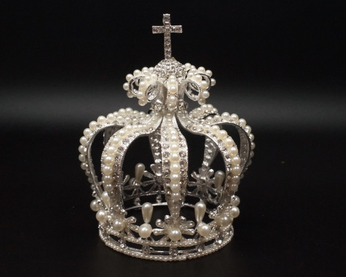 Silver Full King Pearl Crown with Rhinestone Crucifix (TV052)