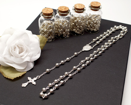 "2"" Plain Silver Cork Glass Bottle Rosary Favors - Pack of 12 Baptism Favors"