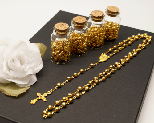 "2"" Plain Gold Cork Glass Bottle Rosary Favors - Pack of 12 Baptism Favors"