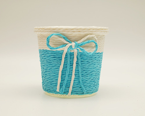 "3"" Blue Round Starched Burlap Candy Favor Box - Pack of 10"