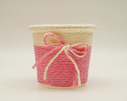 "3"" Pink Round Starched Burlap Candy Favor Box - Pack of 10"