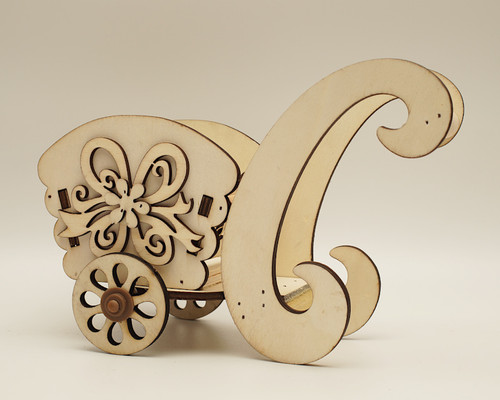 "8.5"" x 6.5"" Birch Wood Laser-Cut Carriage with Movable Wheels  - 1 Centerpiece"