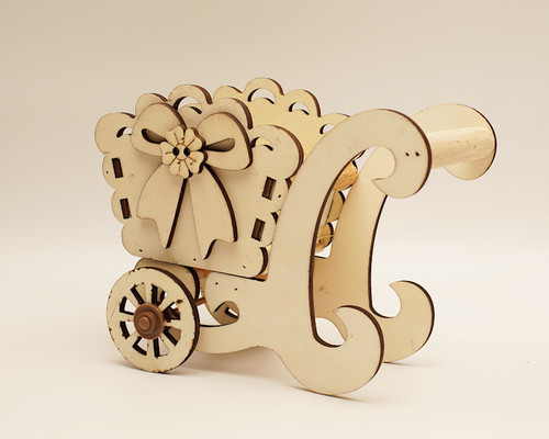 "7.5"" x 5.5"" Birch Wood Laser-Cut Carriage with Movable Wheels  - 1 Centerpiece"