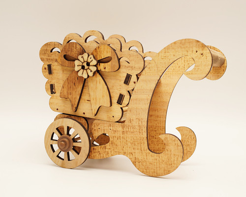 "7.5"" x 5.5"" Brown Wooden Laser-Cut Carriage with Movable Wheels  - 1 Centerpiece"