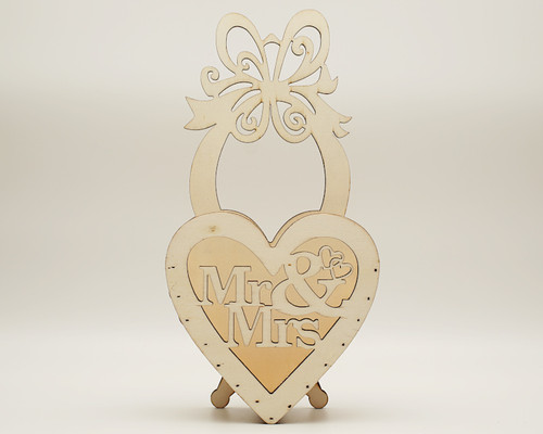 "11.5"" x 6"" Birch Wood Laser-Cut Mr & Mrs Wedding Decoration - 1 Centerpiece"