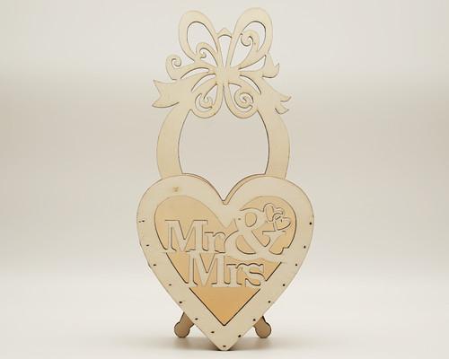 """11.5"""" x 6"""" Birch Wood Laser-Cut Mr & Mrs Wedding Decoration - 1 Centerpiece"""